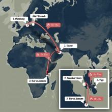 Reiseroute Rostock - Hamburg - Dubai - Dar es Salaam - Sansibar - Paje